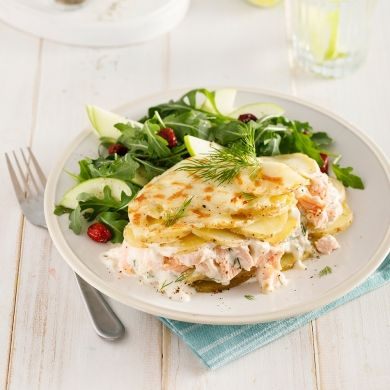 Gratin de pommes de terre et saumon à la mijoteuse - Soupers de semaine - Recettes 5-15 - Recettes express 5/15 - Pratico Pratique