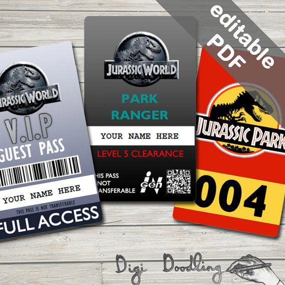 Jurassic World Costume Jurassic World ID Badge by DigiDoodling