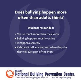 unites, engages, and educates kids, teens, parents and communities nationwide to address bullying through creative, relevant, and interactive resources.