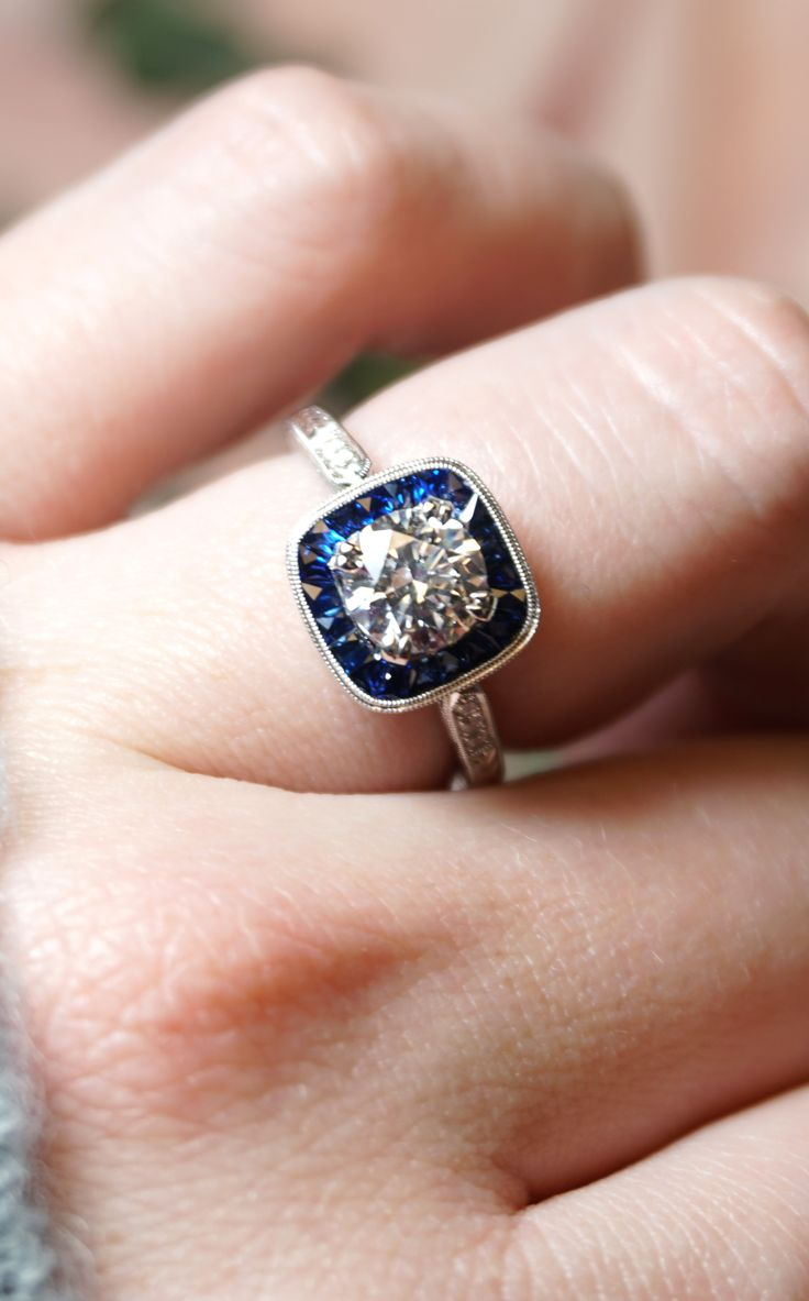Blue Sapphire Vintageinspired Art Deco Halo Diamond Engagement Ring   Joseph Jewelry  Bellevue