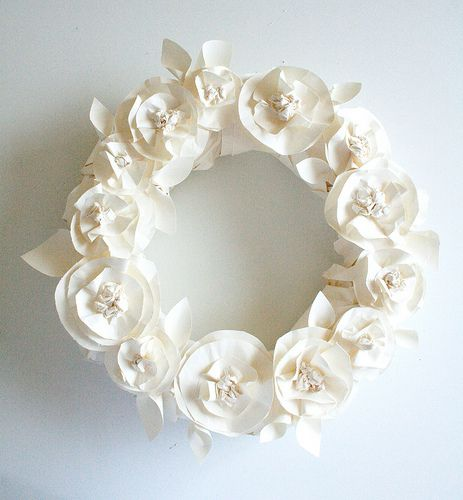 wreath made from butcher paper roses by alisa burke . blog spot