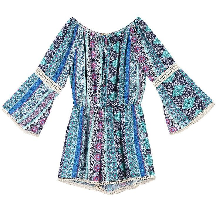 Girls 7-16 Speechless Patterned Bell Sleeve Romper with Lace Inset, Lt Purple