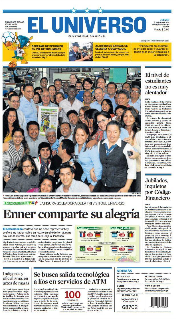 #PortadadeELUNIVERSO de este jueves 3 de julio del 2014. Vea la edición impresa en: http://papeldigital.eluniverso.com/#/1/ #Noticias #Ecuador