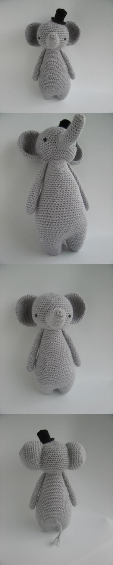 Tall Elephant With Hat Amigurumi Pattern by Little Bear Crochet