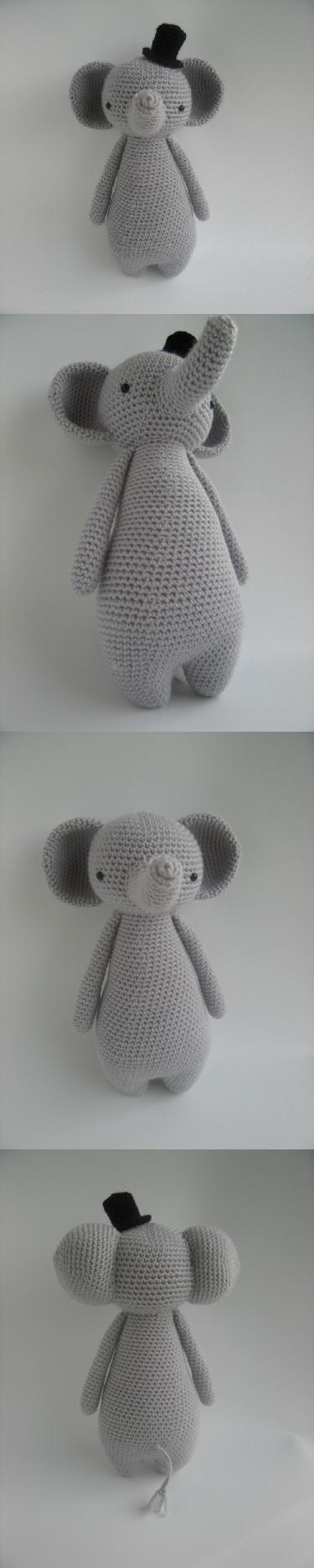 Tall Elephant With Hat Amigurumi Pattern by Little Bear Crochet