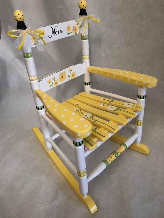Hand Painted Whimsical Personalized Child Rocking Chair By Hughese
