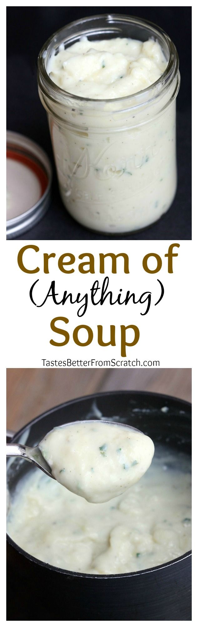 Easy homemade replacement for any Condensed Cream of Soup recipes including Cream of Chicken, Cream of Mushroom, Cream of Celery. Makes the equivalent of one (10.75 oz) can.