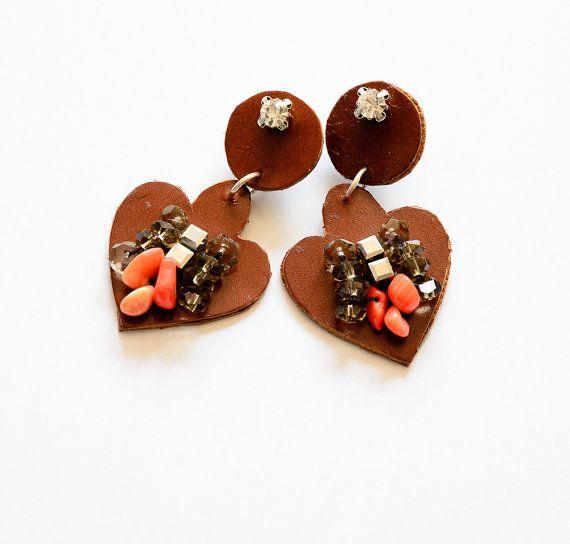 Bohochic leather and beaded earrings hippie by HandmadebyIru, €25.00