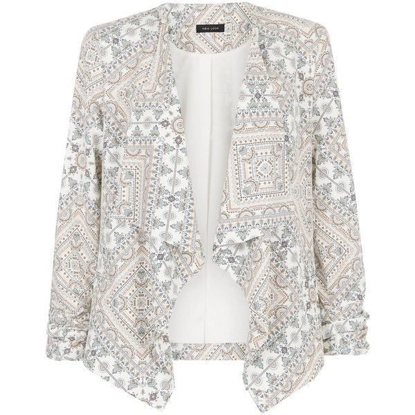 New Look White Aztec Print Waterfall Blazer (54 AUD) ❤ liked on Polyvore featuring outerwear, jackets, blazers, white pattern, print blazer, white blazer, white blazer jacket, waterfall jacket and pattern jacket