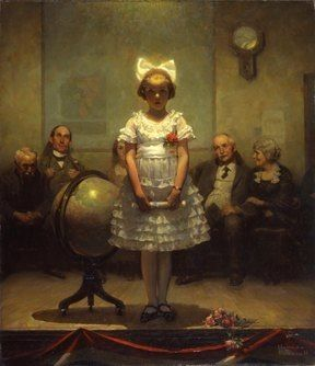 "Very favorite painting! ""Young Valedictorian"" c. 1920. Norman Rockwell. Oil on canvas. #globe"