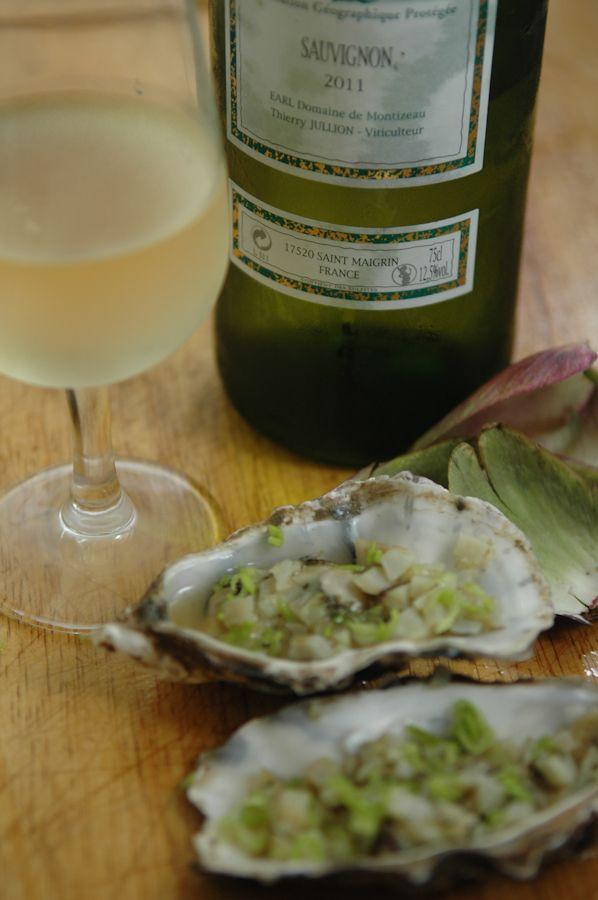 Huîtres en vert