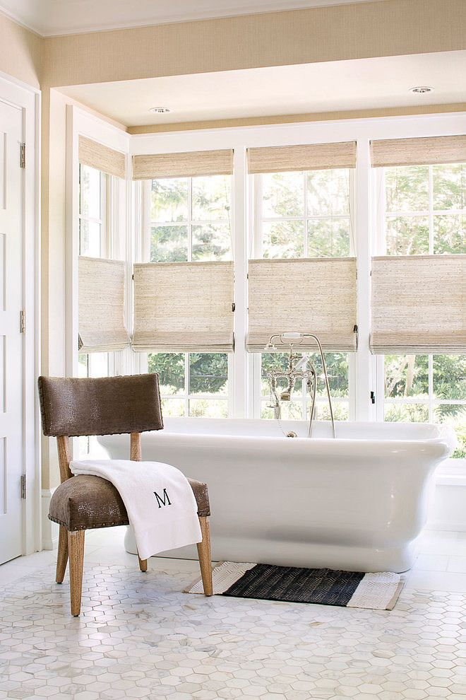 Love the mega-penny tiles, windows and gorgeous tub.  Vero Beach Home by Weaver Design Group | Home Adore
