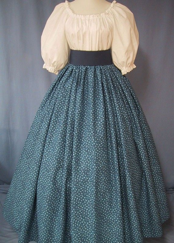 Long Skirt For Costume Navy Calico Pioneer Frontier Colonial Civil War Reenactment Blue Fl Cotton Fabric Handmade History Geek