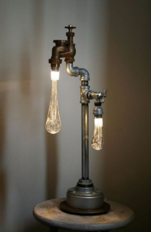 Love This  Liquid Led Lights: Lamps Design, Lights Fixtures, Lights Installations, Wine Bottle Lamps, Cool Lamps, Cool Ideas, Pipes Lamps, Random Stuff, Water Drop
