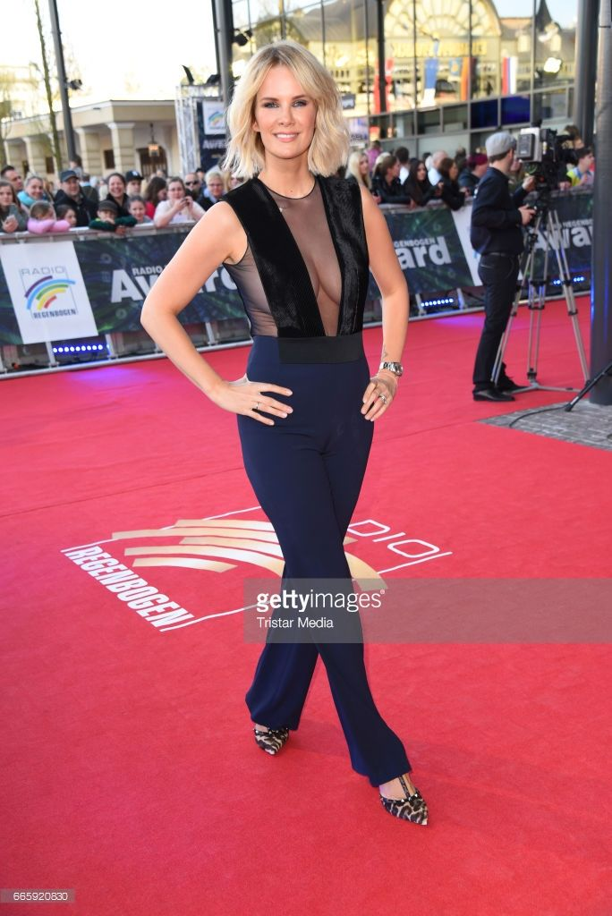 Monica Ivancan, wearing a jumpsuit by Galvan, attends the Radio Regenbogen Award 2017 at Europa-Park on April 7, 2017 in Rust, Germany.