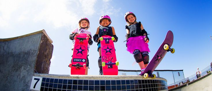 """Pink Helmet Posse: """"Our Mission Statement: The Pink Helmet Posse is a movement of young girls who love to skateboard. Our goal is to inspire other girls to come out and join the fun. The Pink Helmet Posse is a brand that sets girls ages 1-15 up with quality product. We found that you can find skateboards anywhere, but they don't work well, are the wrong size, and generally aren't appealing to little girls. We make quality decks in 4 different sizes so as she grows, so does her deck."""""""