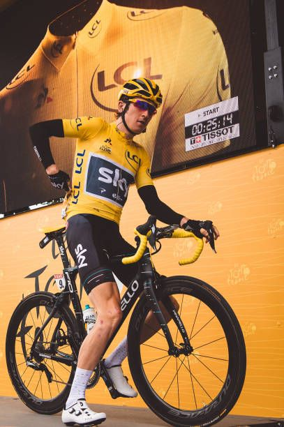 July 2nd 2017 Liege Belgium Cycling Tour de France Stage 2 Geraint Thomas maintains the leaders yellow jersey ahead of stage 2