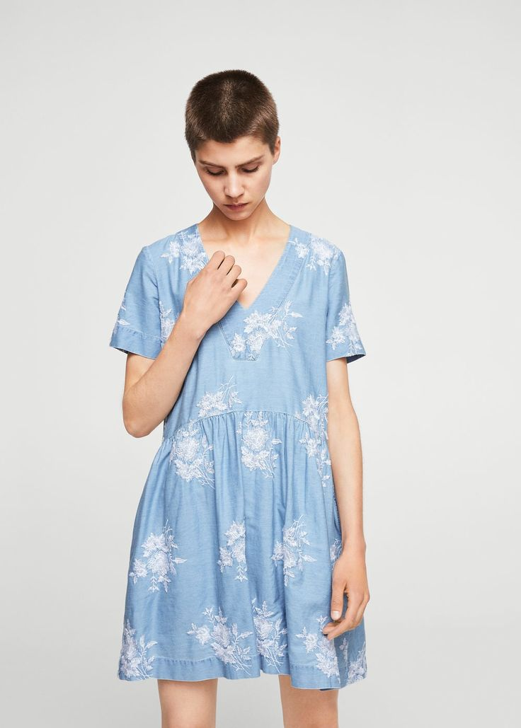 Floral embroidery dress - Woman   MANGO United Arab Emirates