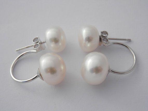 Double Pearl earring-Pearl Stud Earrings-double por PearlDazzle