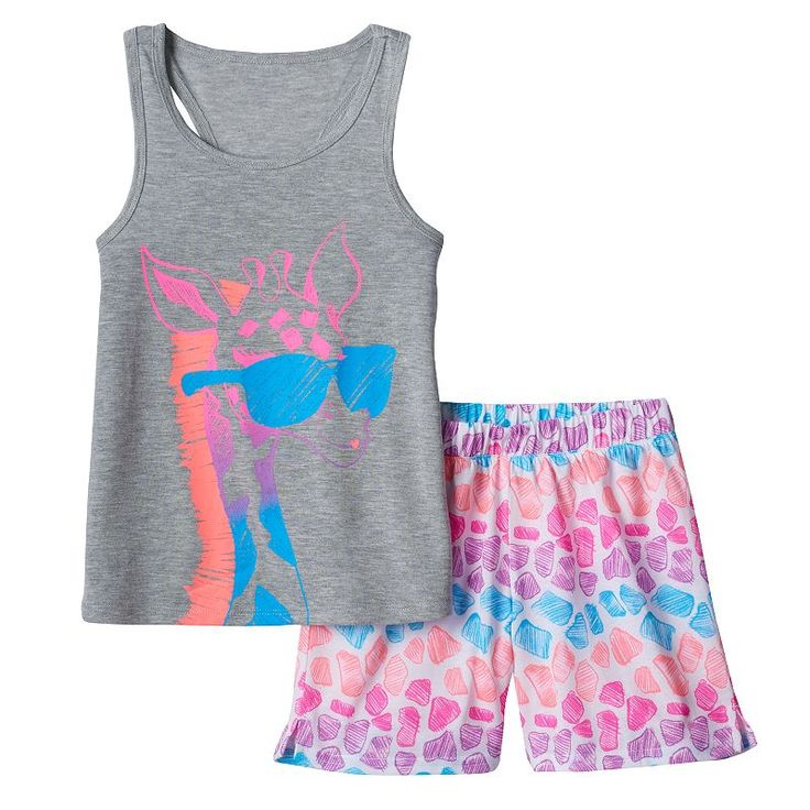 Girls 4-16 SO® Giraffe Tank & Shorts Pajama Set, Girl's, Size: Xs (5/6), Med Grey
