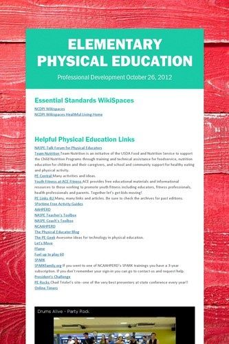 Elementary Physical Education | Smore.  This is a smore flyer I made to share at a professional development session for PE teachers in my county.....lots of great resources for tech in PE!
