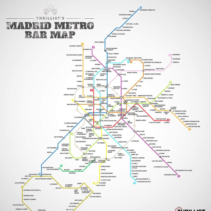Check out Madrid's first ever metro bar map.