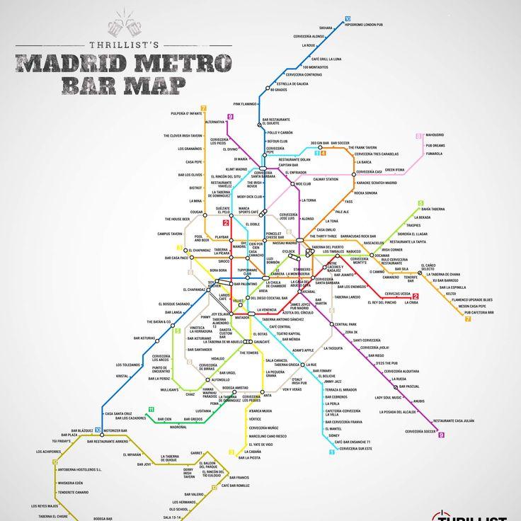 Esto es un mapa tipico del metro, pero un grupo ha anadido todas los bares que puedes encontrar en cada parada. Hay muchos en la ciudad por no solamente el turismo, pero tambien la gran poblacion concentrada en la ciudad.