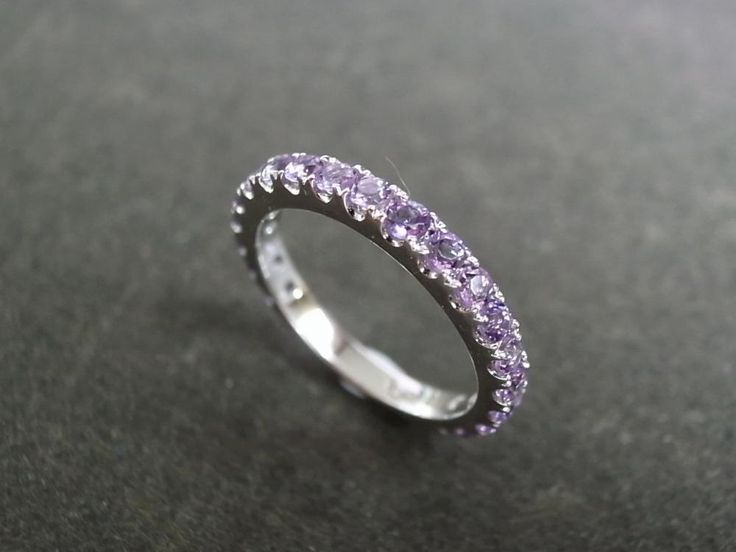 Amethyst Wedding Ring in 14K White Gold