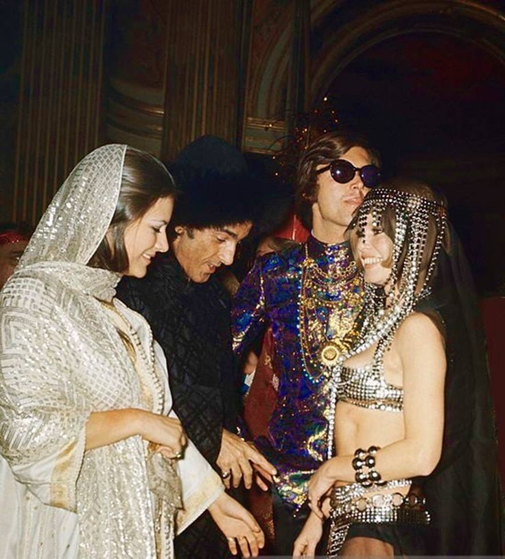 """isabelcostasixties: """"Psychedelic Party """"The Ball Of Baron Alexis De Rede"""" Brigitte Bardot and Serge Lifar at the Hotel Lambert, Paris, December 1969. Photo by Jean-Claude Deutsch (Paris Match) """""""