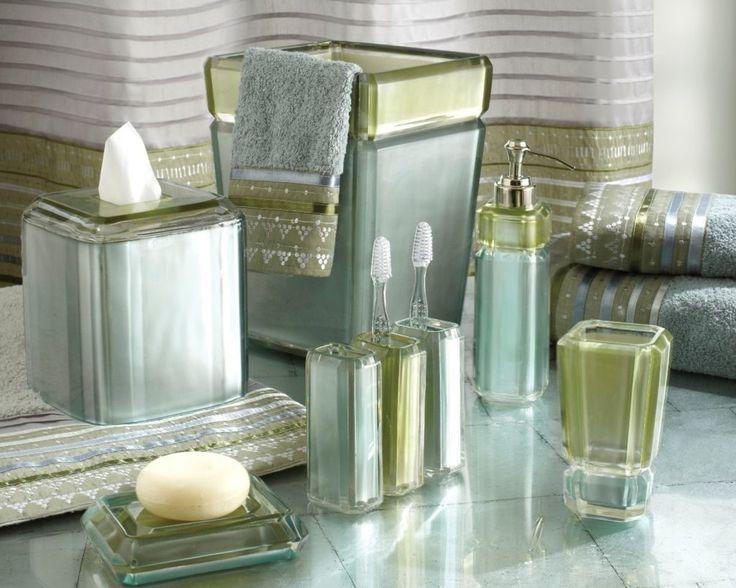 Green Beach Glass Bath Accessories