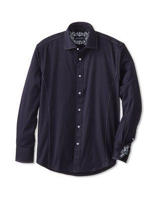 70% OFF Zagiri Men's Comfortably Numb Jacquard Shirt (Navy)
