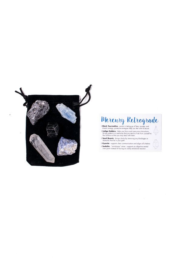 Mercury Retrograde Crystal Set ✨🌚✨  This deluxe 5-piece crystal set was designed specifically to help you when Mercury is in retrograde. Mercury retrograde occurs about three or four times a year when Mercury passes Earth in orbit, appearing as if it is moving backwards. Because Mercury rules communication, clear thinking, truth, and travel, these things also go backwards during times of retrograde, meaning chaotic communication and overly emotional reactions run rampant.  Our Mercury…