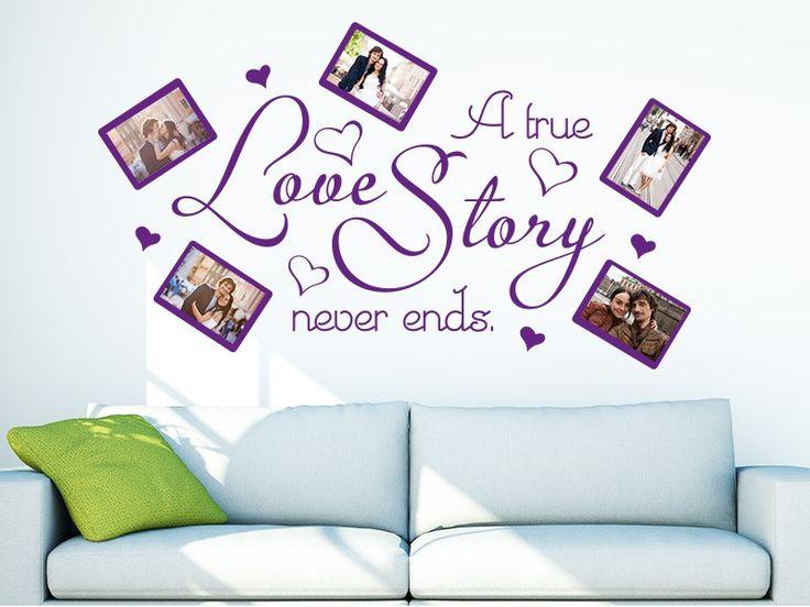 A True Love Story Never Ends Wandtattoo Fotorahmen