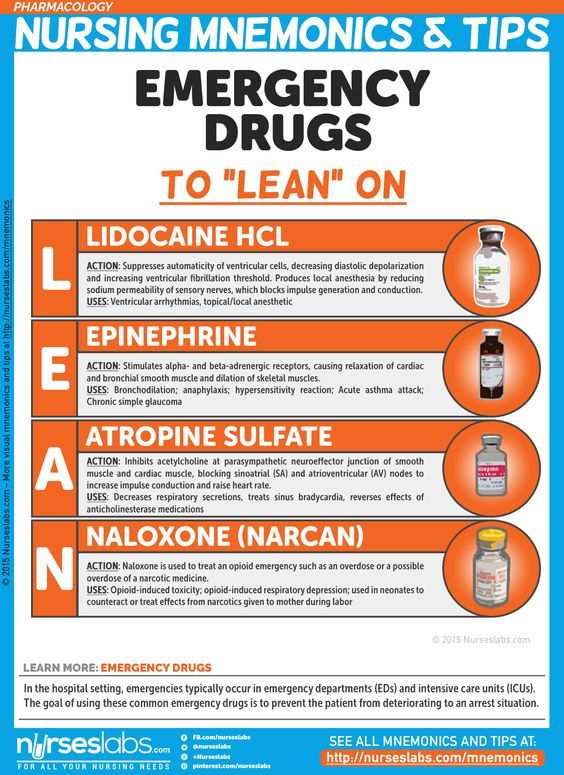 "Emergency Drugs to ""LEAN"" on Nursing Mnemonics and Tips: http://nurseslabs.com/pharmacology-nursing-mnemonics-tips/"