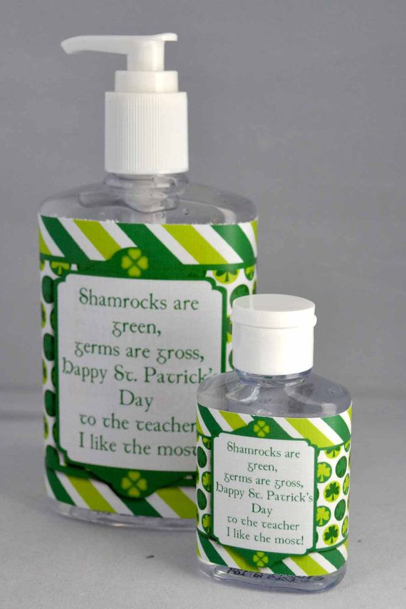St. Patrick's Day Printable Hand Sanitizer Wrapper in 2 sizes, great teacher gift!