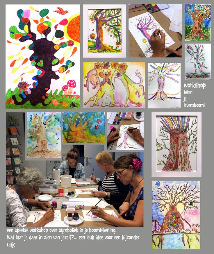 Wat zegt jouw boomtekening over jou? Een leuke en speelse workshop  en tekentaal. Workshop vanaf ongeveer 16 jaar