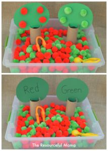 Fine Motor Color Matching Apple Sensory Bin - The Resourceful Mama