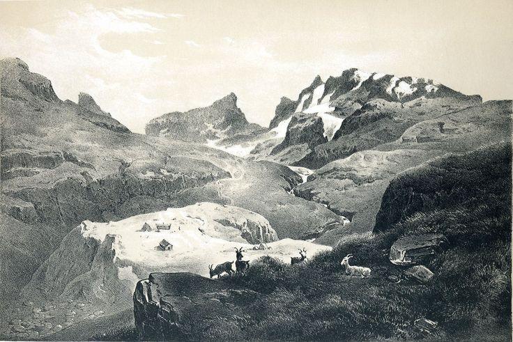 """Hans Gude - """"Norge fremstillet i billder"""" 1848 by Chr. Tønsberg. Horungene mountain. jpg (1563×1043)"""