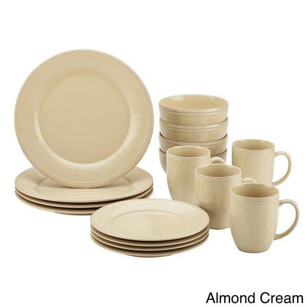 16 Piece Almond Cream Stoneware Dinnerware Set Rachael Ray Free Shipping #RachaelRay