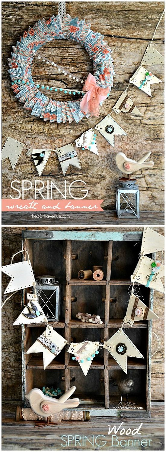 Adorable Spring Banner and Wreath Tutorial @The 36th Avenue .com Pin it now and make it later! #crafts #wreath