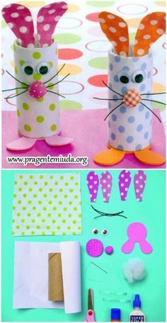 Easy Easter craft for toddlers and little kids: toilet paper roll bunnies