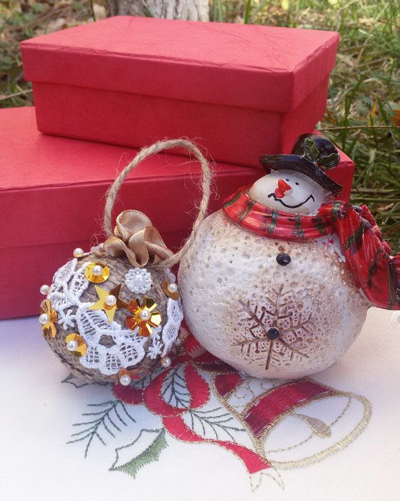 Shabby Chic Christmas tree ball hanging ornament by Rocreanique