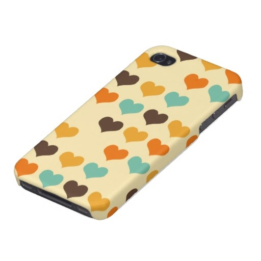 Retro Color Hearts Pattern iPhone 4/4S Cover