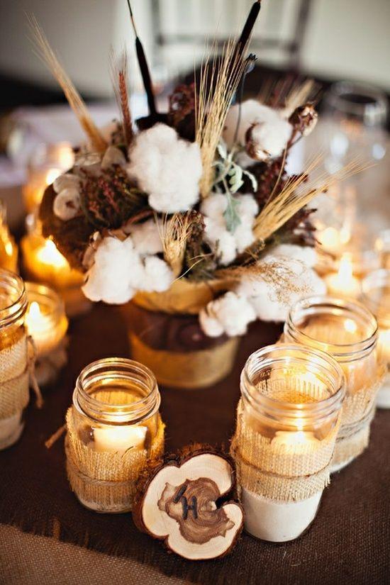 Fall Wedding Decorations Unique Idea Raw Cotton Branch Centerpieces Western