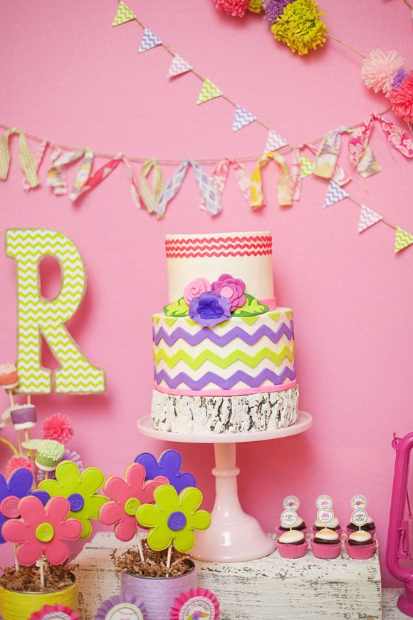 Chevron cake and all sorts of adorable details!