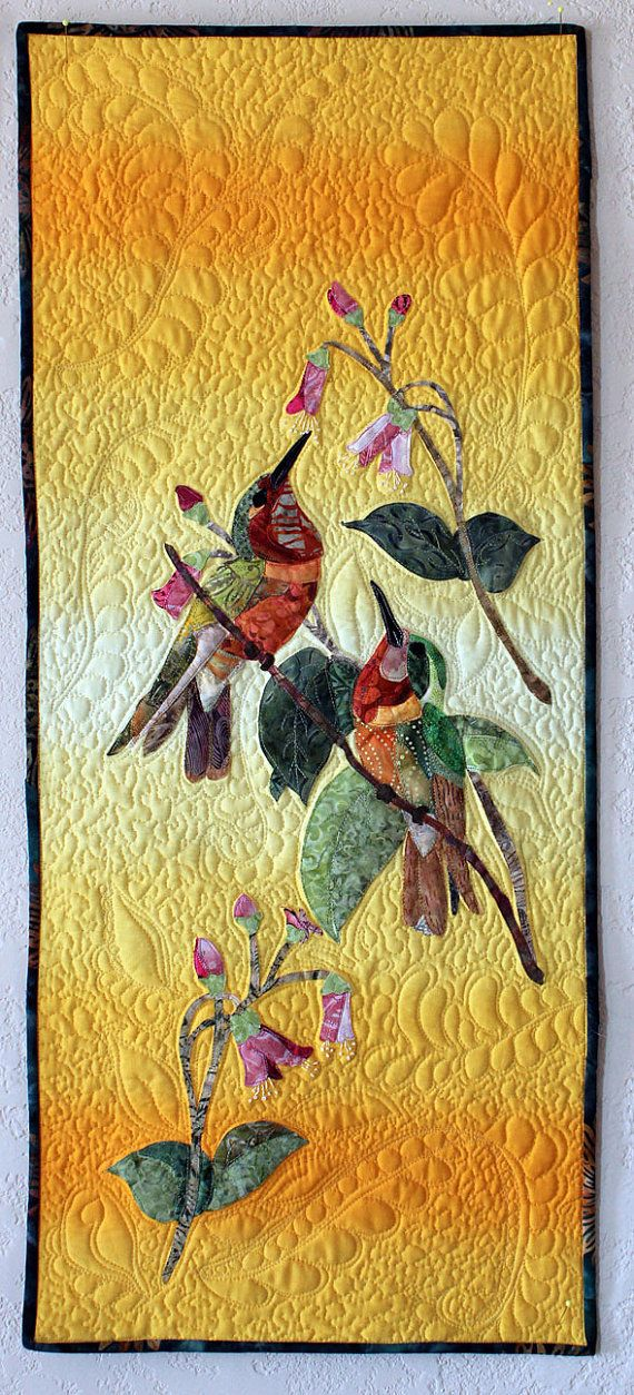 Reduced to sell this summer at extremely low prices, all my art quilts are priced to sell as my Etsy studio makes changes for new art and textiles.    This is a quilted wall hanging which measures 16 1/2 inches x 30 1/2 inches and is perfect for one of those odd wall spaces. The inspiration comes from Mulsant & Verreaux hummingbird prints which are extremely scarce and famous work. For a collector of Hummingbirds this is indeed a treasure. The process is raw edge applique, a bit...