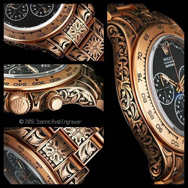 Here's a Rose #Gold, #Rolex #Daytona which I #engraved earlier this year...