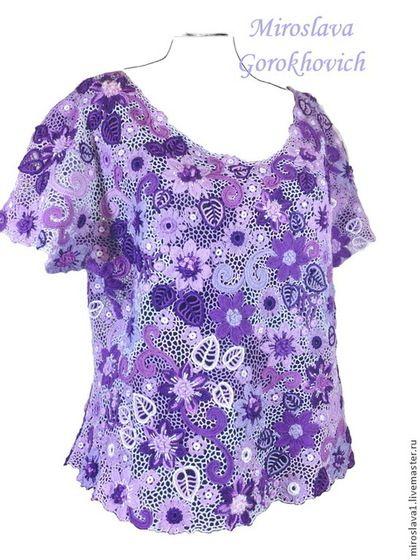 Купить Блуза в сиренево-фиолетовой цветовой гамме. - фиолетовый, цветочный, сиреневый, Вязание крючком