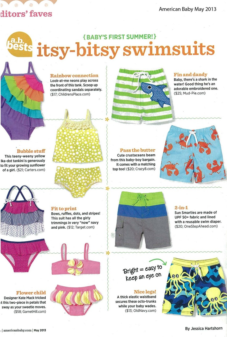 Watch for our Flower Petals Bikini by Kate Mack  in the May issue of American Baby!