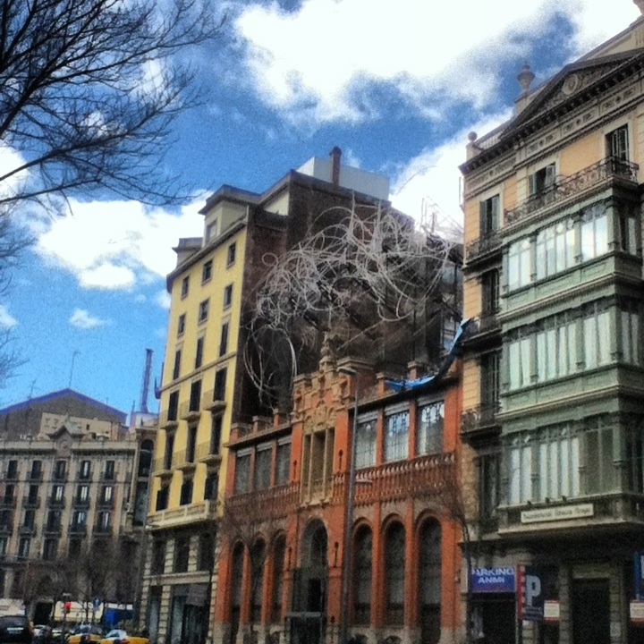Calle Aragon in the heart of Barcelona. Museum.